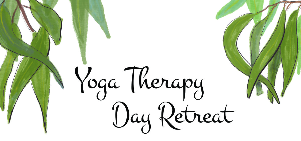 Image of watercolour gum leaves and text 'Yoga Therapy Day Retreat'